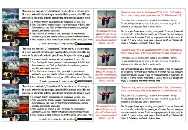 3 folletos - doblar al medio - OsMisteriosDeDeus